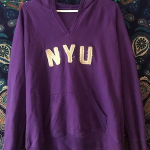 Mens New York University Long Sleeve Hooded Sweatshirt Ash